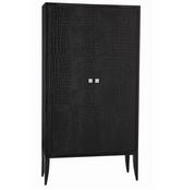 dark walnut armoire with black embossed crocodile leather doors