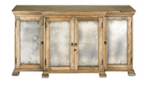 This best-selling buffet is perfect for adding storage with style. Antique Mirrored door fronts and a Natural finish give this piece a chic and refined appearance.