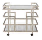 worlds away Ireland bar cart in silver