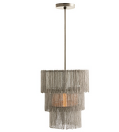 Fringe is all the rage and this nickel plated chandelier brings that fashion trend home.