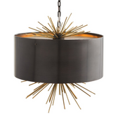 Inspired by the success of Zanadoo, this three-light pendant features a perforated metal diffuser at both the top and bottom.
