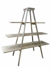 Metal weathered grey finish architectural shelf stand very useful for photos, books and even kitchen plates pots and pans