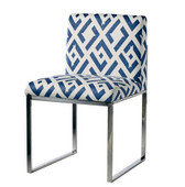 The Milano contemporary side chair with stainless steel frame. Shown in Kravet China Club.5 in indigo/white. Styled to pair unexpectedly with the Milano arm chair in 30339.5 in royal/navy/white velvet. Made to order.
