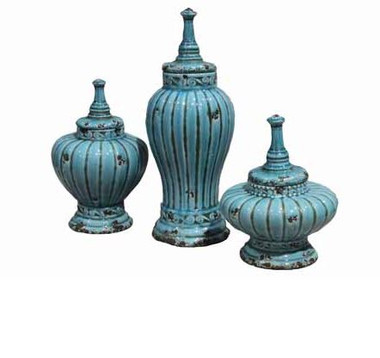 SET OF 3 CARIBBEAN BLUE FINIAL TOP