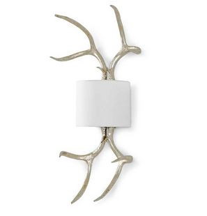 Regina Andrew silver Antler sconce with white shade.