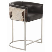Transitional box style low barstool with low curved back is supported by polished nickel finish on stainless steel frame. Seat upholstery features top grain seat and detailed with black and white hide back.