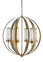 currey & company antique brass modern design orb chandelier