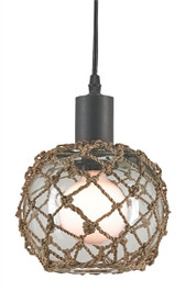 The nautically inspired Fairwater Pendant is a classic design featuring a clear glass globe adorned with Natural Abaca weave overlay and an Old Iron finished base.