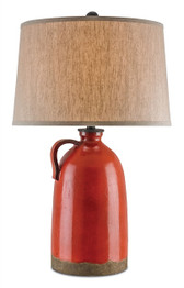 Baltik Red wrought iron table lamp with oatmeal shade by currey and company.