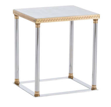 This brass side table takes its inspiration from the perfect simplistic beauty of ancient Greek and Roman Columns. The rounded legs in polished nickel give a clean, modern line to the table. The polished brass base and capital are finely etched with classic detail and they are topped with beautiful white marble. This table works in a living room, library, family room, or bedroom. Marble will vary.