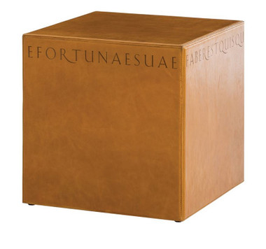 Embossing a simple leather cube with words and phrases reminiscent of ancient Greek and Latin creates a side table that is modern with a classic element that harkens back to the dawn of Greek and Roman civilization. The top grain leather is the color of butterscotch and is untreated guaranteeing that it will age and mark over time.