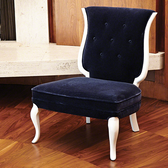 Ink blue mohair chair by Global Views