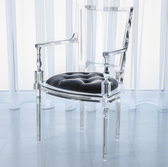 Global Views acrylic arm chair with pewter grey seat