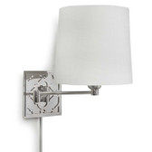 Arabesque Sconce 9″W x 13.25″H 55-41-0168 Arabesque design, swing arm wall sconce with white drum shade with polished nickle finish.