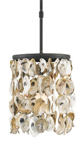 Strands of hand-selected oyster shells adorn the Blacksmith wrought iron frame of this versatile fixture, perfect for seaside homes as well as transitional settings that seek a hint of seaside inspiration.