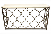 Scott console table with stone top and aged black and gold finish