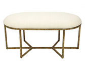 Winston long round bench with beige linen fabric and champagne gold finish