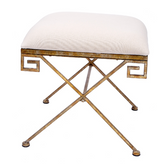 A gold greek key bench from Old World Design.