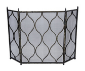 Antique silver and black scott fireplace screen
