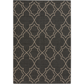 An outdoor rug with an elegant black alfresco design for your home.