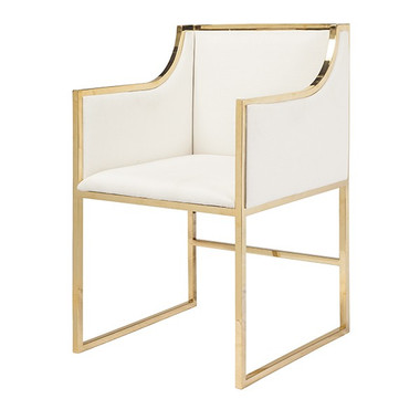 "Annabelle BRW  White Linen Brass Framed Arm Chair Seat Heigh 20"" arm Height 28"" other DIMENSIONS: 20.5""W X 34""H X 21""D"