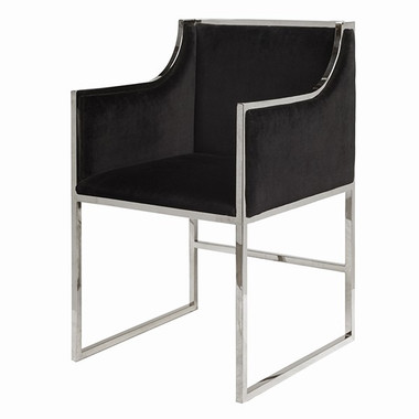 Classic Modern Black Velvet Dining or Occasional Chair with Nickel Frame