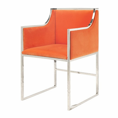Beautiful plush orange velvet nickel frame modern design arm chair perfect for that pop of color as an occasional chair or dramatic seating   in a dining room
