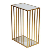 "Gold Leaf Iron Side Table with Mirrored Top 18"" Wide 26"" High 10.5"" Deep"