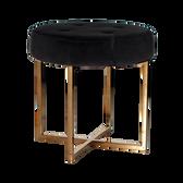 """Well Constructed Black Velvet Brass Base Stool 18.5"""" diameter 18"""" High"""