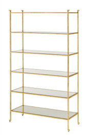 Simple but elegant designer shelf for storing books, trinkets, and other items. Currey and Company's Delano Etagere shelves are the perfect addition to any home.