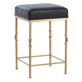"Beautifully designed Arteriors brushed brass finish counter height bar stool with black leather top, 24"" high and 15"" X 15"" square top"
