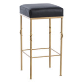 "The Palmer Black leather top Bar Stool at 30.5"" High and 15"" x 15"" black leather top with beautiful brushed satin brass frame accented with sophisticated knot design on legs ,glamorous and yet highly functional"