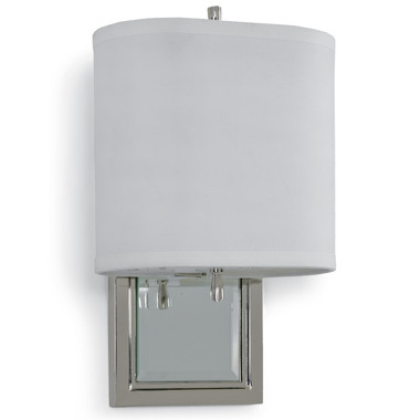 beveled mirror wall sconce framed with nickel finish back plate