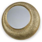 "asymmetrical hammered matte gold finish mirror  22"" diameter"