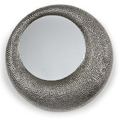 hammered nickel round mirror
