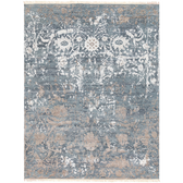 70 % wool 30% silk hand knotted rug with fringe detail