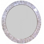"multitone bone inlaid round mirror 32"" in diameter"