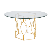 "GOLD LEAFED HEX DINING TABLE W. 54"" DIA GLASS TOP COLOR: Clear, Gold"