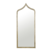 "MOROCCAN STYLE GOLD LEAF IRON MIRROR. COLOR: Gold Leaf  DIMENSIONS: 24""W X 55""H X 1""D"