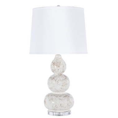 "3 TIER WHITE LAMP WITH GOLD MARBLING, WHITE LINEN SHADE, & LUCITE BASE.  - UL APPROVED FOR 1 60W BULB. COLOR: White  DIMENSIONS: 32""H X 17""DIA"
