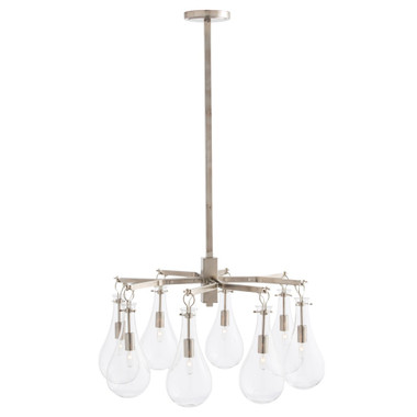 "An extension of our popular Sabine collection, this chandelier has eight clear teardrop glass shades suspended from a square vintage silver pipe. Scaled perfectly for smaller dining rooms. Shown with small clear tubular bulbs. Approved for use in covered outdoor areas. Additional pipe available PIPE-134. 30.5 "" in diameter 20""-50"" adjustable height"