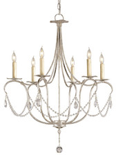 Currey & Company Silver Crystal Lights Chandelier, Small