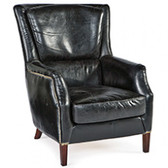 """Modern twist designed after the traditional fan back chair in black leather accented with nail heads 40.5"""" wide 30.5"""" deep and 39"""" High"""