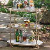 "This brass bar cart compliments the natural motif of our Arbor collection. It has twig textured detailing on the supports and handles, a solid white marble bottom shelf, and two glass upper shelves. Solid brass pivoting wheels make for easy mobility. 42.75"" L X 20"" W X 37.5"" H"