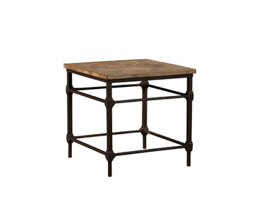 "Simple elm parquet panels are supported by sturdy iron legs and stretchers on this handsome end table. 23.5"" X 23.5"" X 23.5"""
