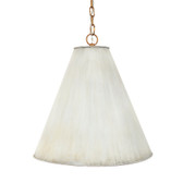 "NICOLE CREAM METAL SHADE PENDANT WITH GOLD LINING,  6""W (TOP) X 20""W (BOTTOM) X 20""H"