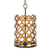 "KELLER GOLD AND BRONZE METAL PENDANT 10.5"" diameter, 20"" High"