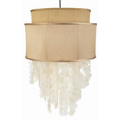 "Double gold shade and capiz shell ceiling pendant. 22""W x 42""H"