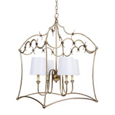 "AMELIA ORNATE SILVER CHANDELIER WITH WHITE LINEN SHADES, 22""W x 22""D x 33.5""H"