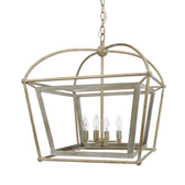"PROVIDENCE METAL LANTERN WITH DISTRESSED SILVER & GOLD FINISH, 22.5""W x 22.5""D x 25.5""H"